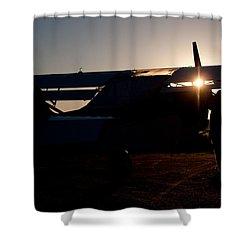 Sunset Plane Shower Curtain by Paul Job