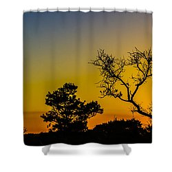 Sunset Silhouette Shower Curtain by Debra and Dave Vanderlaan