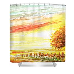 Shower Curtain featuring the painting Sunset by Teresa White