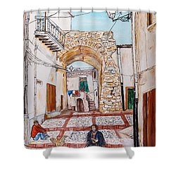 Shower Curtain featuring the painting Sutera Rabato Antico by Loredana Messina