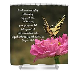 Swallowtail On A Zinnia Shower Curtain