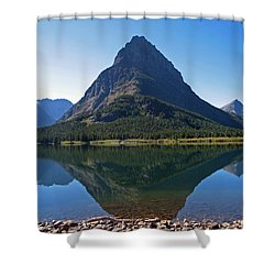 Shower Curtain featuring the photograph Swiftcurrent  Lake Many Glacier by Joseph J Stevens