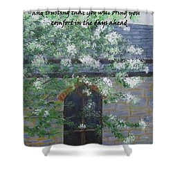 Shower Curtain featuring the painting Sympathy Card With Church by Linda Feinberg
