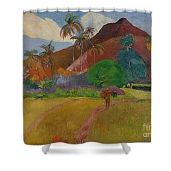 Tahitian Landscape Shower Curtain by Paul Gauguin