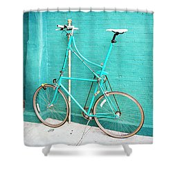 Shower Curtain featuring the photograph Tall Bike On Aqua Blue Green by Brooke T Ryan