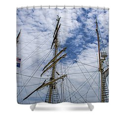 Tall Ship Three Mast  Shower Curtain by Dale Powell