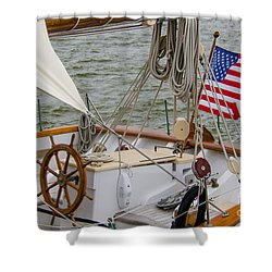 Tall Ship Wheel Shower Curtain by Dale Powell