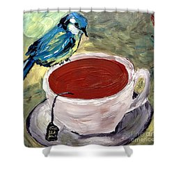 Shower Curtain featuring the painting Tea Time  by Reina Resto