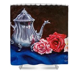Teapot And Roses Shower Curtain