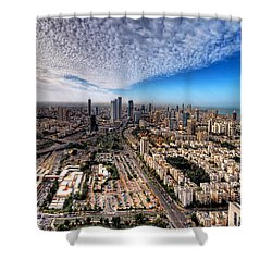 Tel Aviv Skyline Shower Curtain by Ron Shoshani