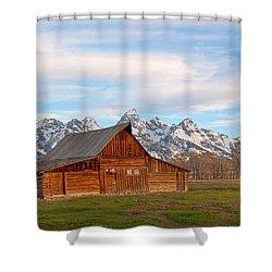 Teton Barn Shower Curtain by Steve Stuller