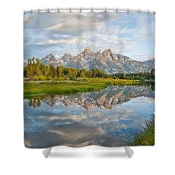 Teton Range Reflected In The Snake River Shower Curtain