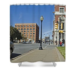 Shower Curtain featuring the photograph Texas School Book Depository by Charles Beeler