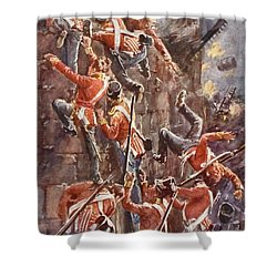 The 5th Division Storming By Escalade Shower Curtain by William Barnes Wollen