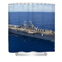 The Amphibious Assault Ship Uss Boxer Shower Curtain by Stocktrek Images