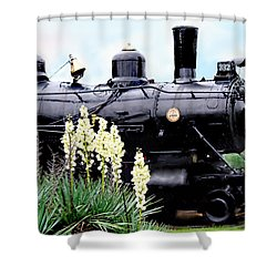 The Black Steam Engine Shower Curtain