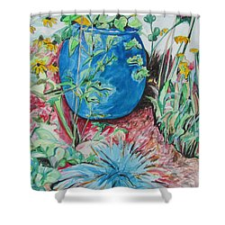 The Blue Flower Pot Shower Curtain by Esther Newman-Cohen