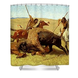 The Buffalo Hunt Shower Curtain by Frederic Remington