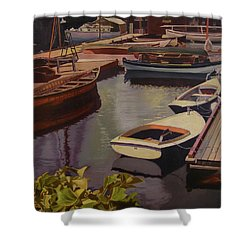 The Canvas Boat Shower Curtain by Thu Nguyen