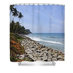 The Coast At Varkala In Kerala India Shower Curtain by Robert Preston