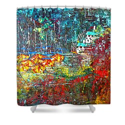 Beach House Shower Curtain by George Riney