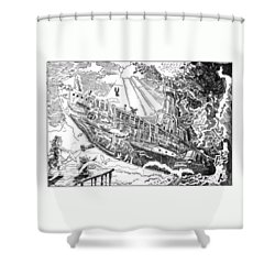 Shower Curtain featuring the drawing The Flying Submarine by Reynold Jay