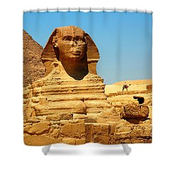 Shower Curtain featuring the photograph The Great Sphinx Of Giza And Pyramid Of Khafre by Joe  Ng