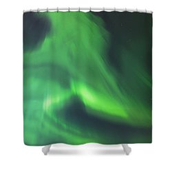 The Green Northern Lights Corona Shower Curtain by Kevin Smith