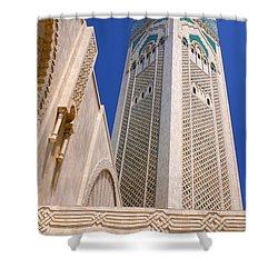 Shower Curtain featuring the photograph The Hassan II Mosque Grand Mosque With The Worlds Tallest 210m Minaret Sour Jdid Casablanca Morocco by Ralph A  Ledergerber-Photography