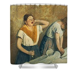 The Laundresses Shower Curtain by Edgar Degas
