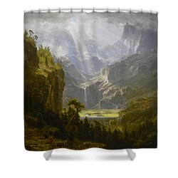 Shower Curtain featuring the painting The Rocky Mountains Lander's Peak by Celestial Images