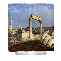 The Temple Of Hercules And Sculpture Of A Hand In The Citadel Amman Jordan Shower Curtain by Robert Preston
