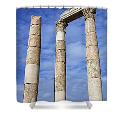 The Temple Of Hercules In The Citadel Amman Jordan Shower Curtain by Robert Preston