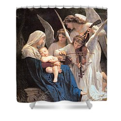 The Virgin With Angels Shower Curtain by William Bouguereau