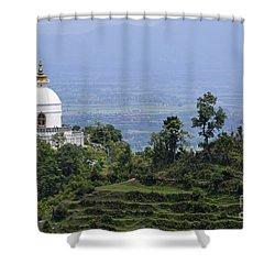 The World Peace Pagoda Pokhara Shower Curtain by Robert Preston