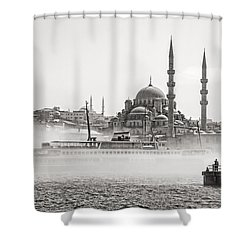 The Yeni Mosque In Fog Shower Curtain