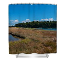Thompson Island In Maine Panorama Shower Curtain