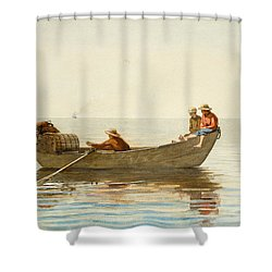 Three Boys In A Dory With Lobster Pots Shower Curtain by Winslow Homer