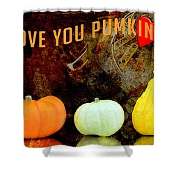 Three Small Pumpkins Shower Curtain by Tommytechno Sweden