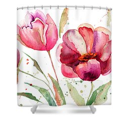Three Tulips Flowers  Shower Curtain