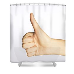 Thumbs Up Shower Curtain by Alan Marsh