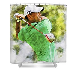 Tiger Woods Hits A Drive  Shower Curtain