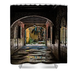 To The Courtyard Shower Curtain by Christopher Holmes