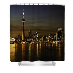 Toronto Evening Sky Line Panorama Shower Curtain by Peter v Quenter