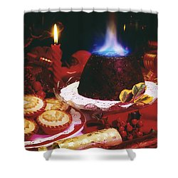 Traditional Christmas Dinner In Ireland Shower Curtain by The Irish Image Collection