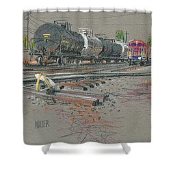 Shower Curtain featuring the drawing Train's Coming by Donald Maier