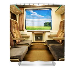 Travel In Comfortable Train. Shower Curtain by Michal Bednarek