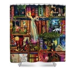 Treasure Hunt Book Shelf Shower Curtain by Aimee Stewart