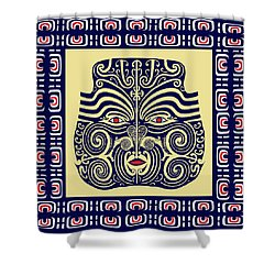 Marquesas Tribal Spirits Shower Curtain by Vagabond Folk Art - Virginia Vivier
