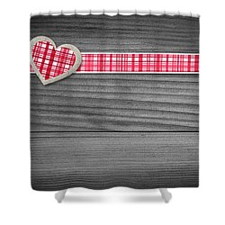 Two Hearts Laying On Wood  Shower Curtain by Aged Pixel